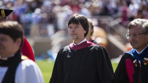 STANFORD, CA - JUNE 12: Emmy Award-winner and documentary filmmaker Ken Burns (C) arrives during the 125th Stanford University commencement ceremony on June 12, 2016 in Stanford, California. The university holds its commencement ceremony amid an on-campus rape case and its controversial sentencing. (Photo by Ramin Talaie/Getty Images)